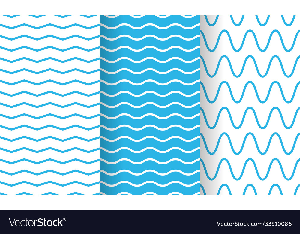 Separate waves wavy endless stripes patterns set