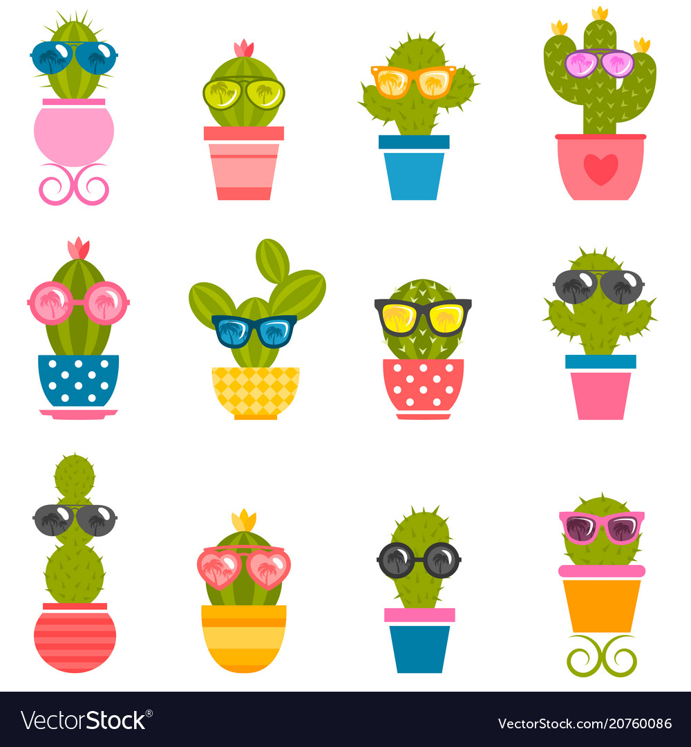 Set cactuses with sunglasses isolated on white
