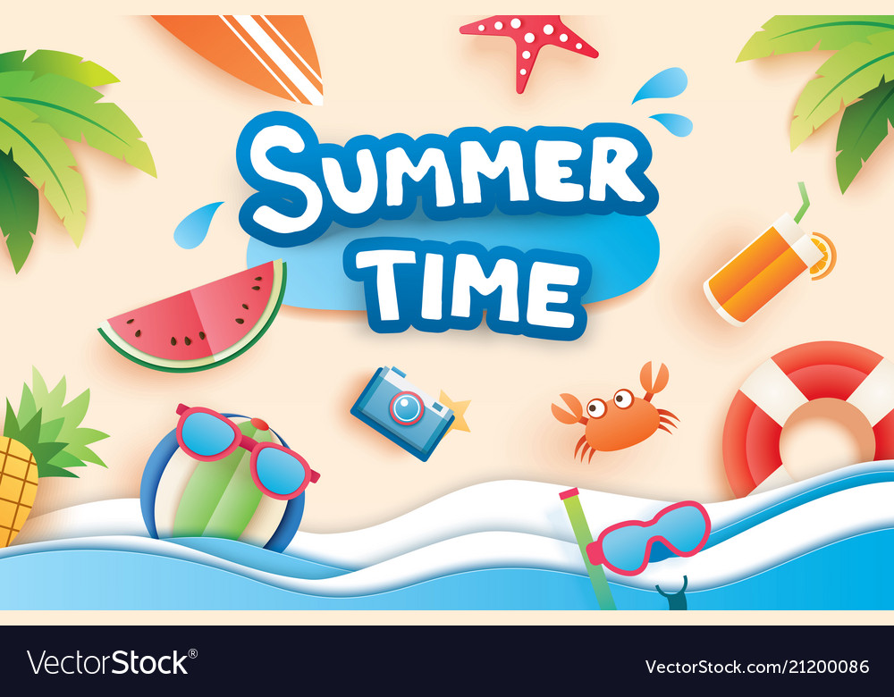 Summer time with paper cut symbol icon for