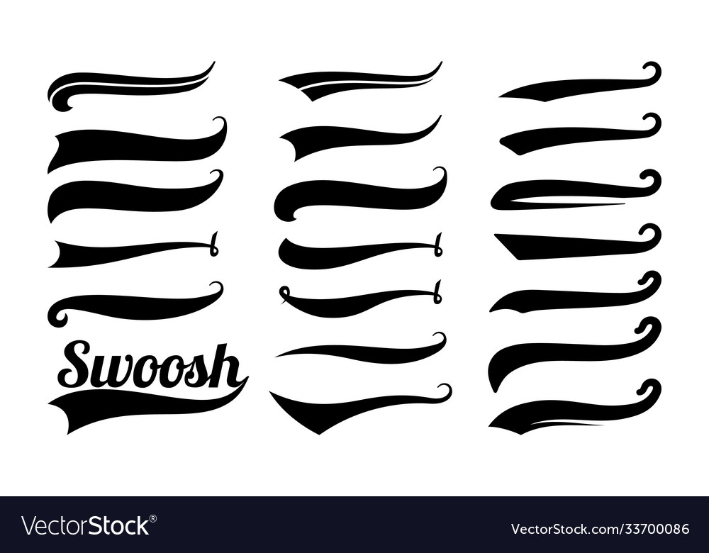 Swoosh tails swirl sport typography element