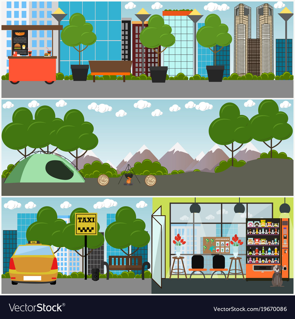 Tourist interior concept poster banner set