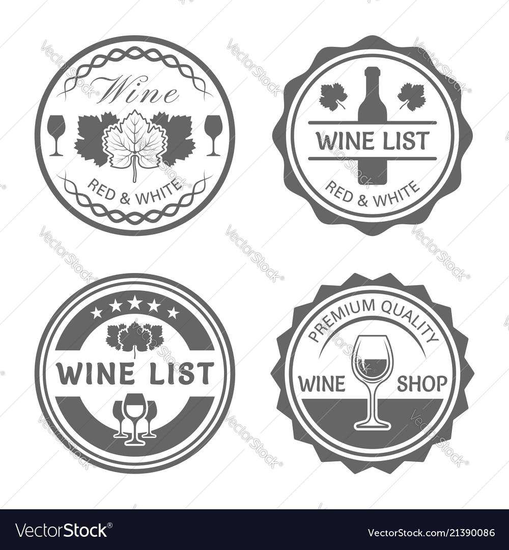 Wine shop monochrome vintage round labels