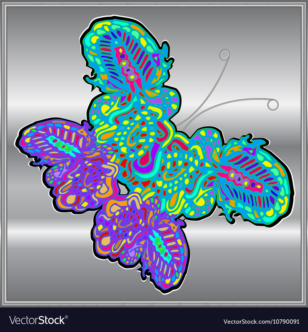Butterfly doodle zentangle inspired art vector image