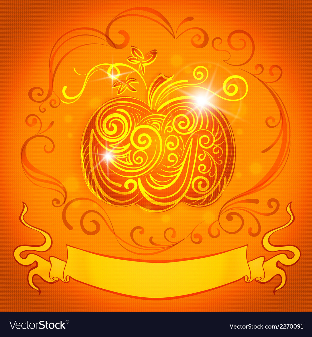Greeting card with pumpkin and ribbon for vector image