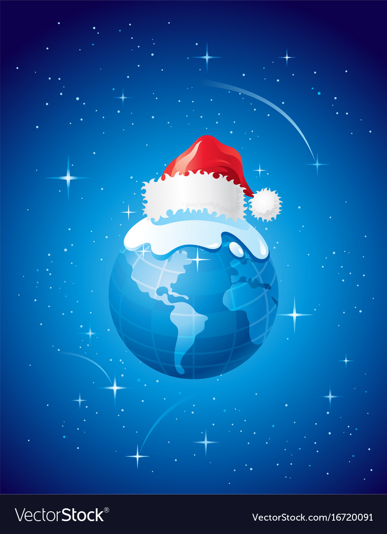 Merry christmas dear planet poster with earth in