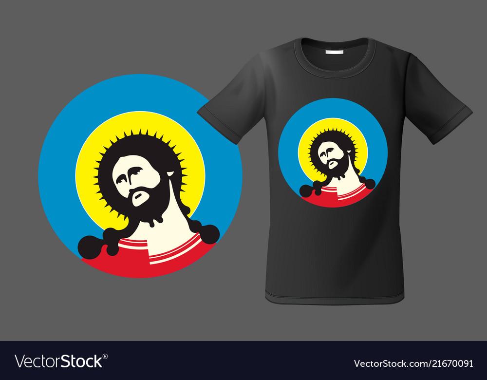 Modern t-shirt design with portrait jesus