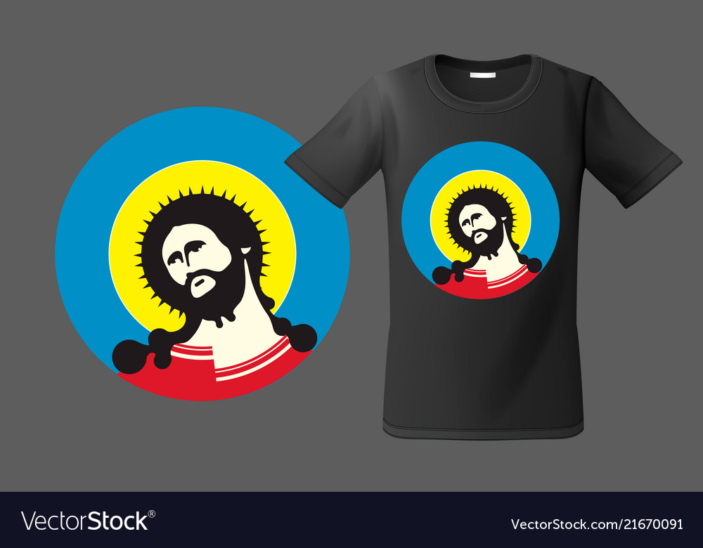 Modern t-shirt design with portrait of jesus