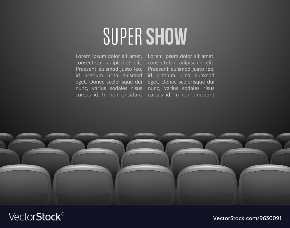 Movie theater with row of gray seats Premiere