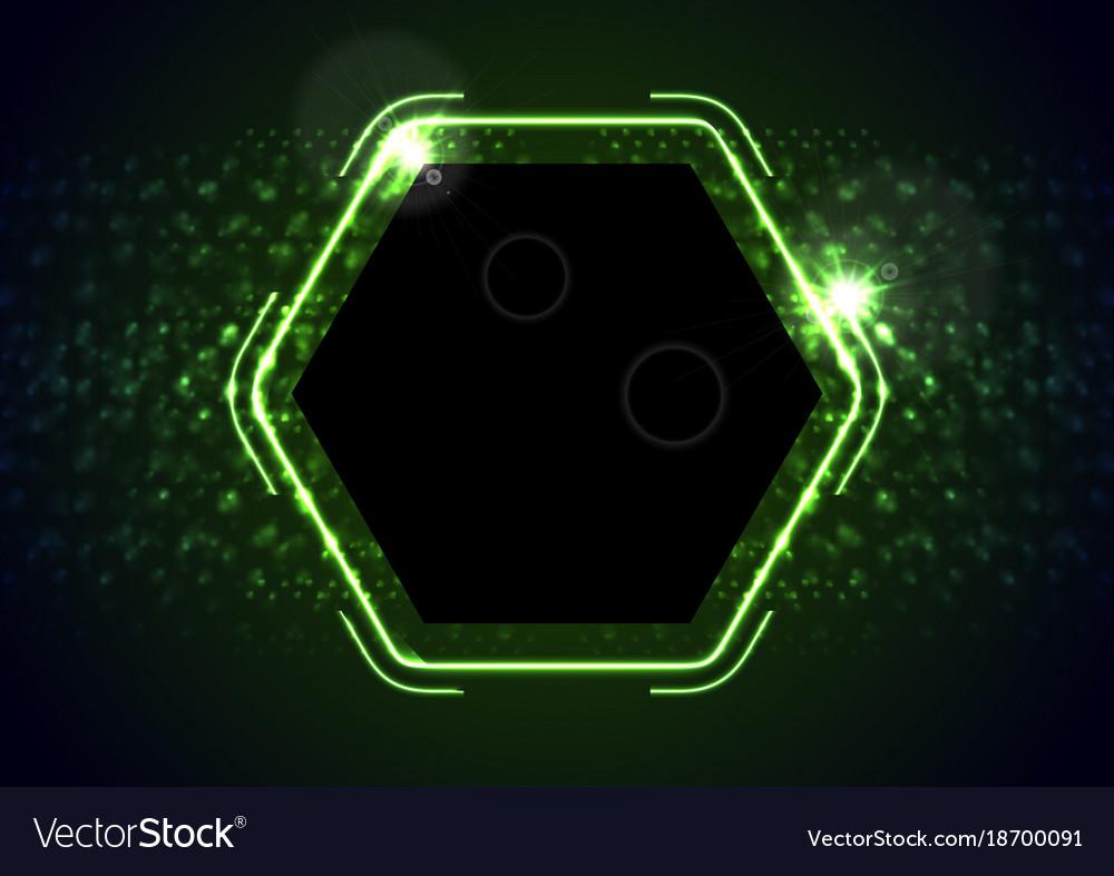 Retro neon 80s shiny hexagon abstract background