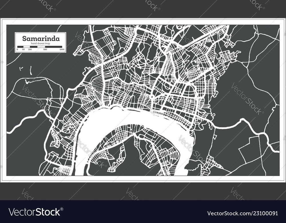 Samarinda indonesia city map in retro style Vector Image