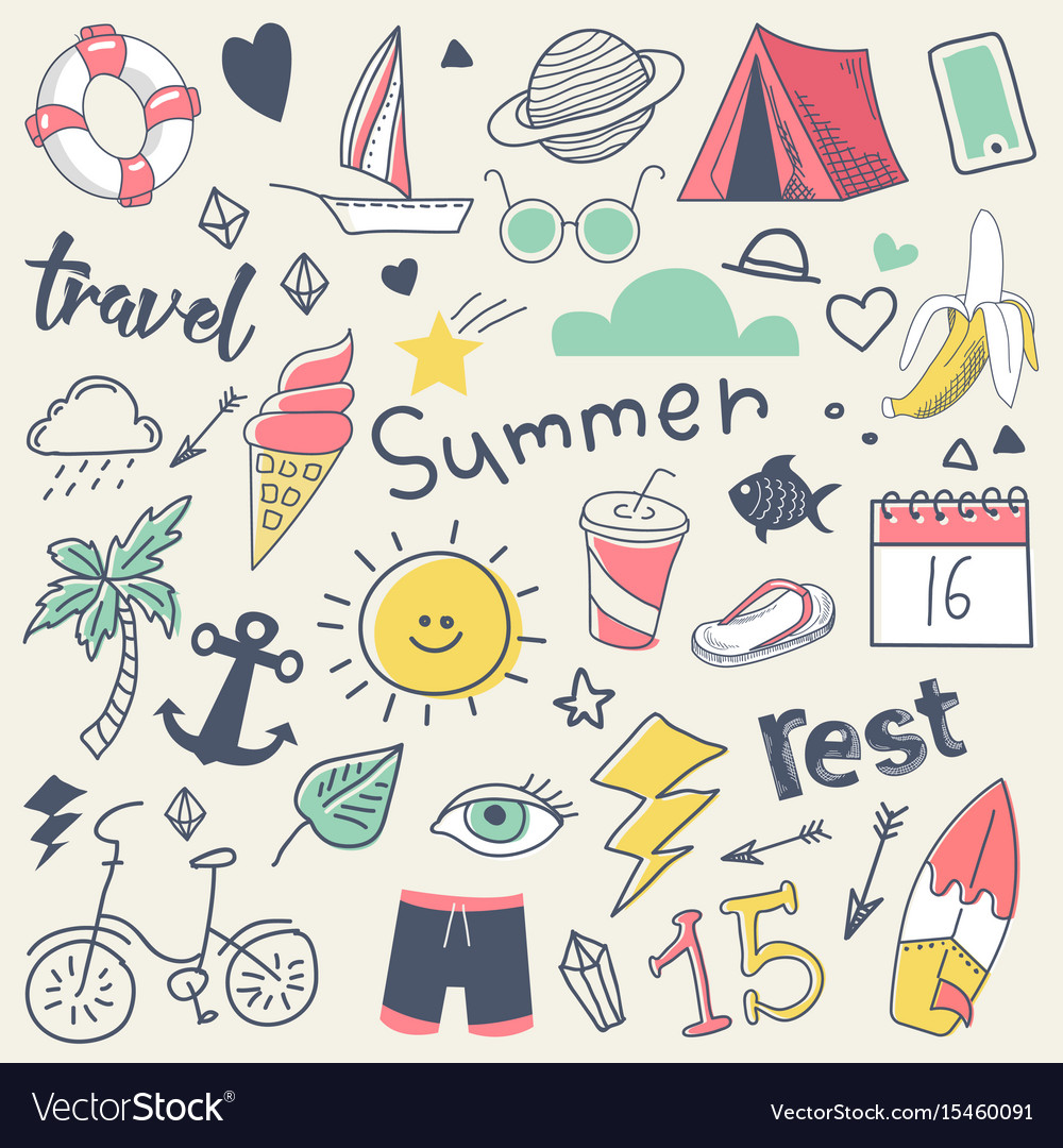 Summer vacation freehand hand drawn doodle