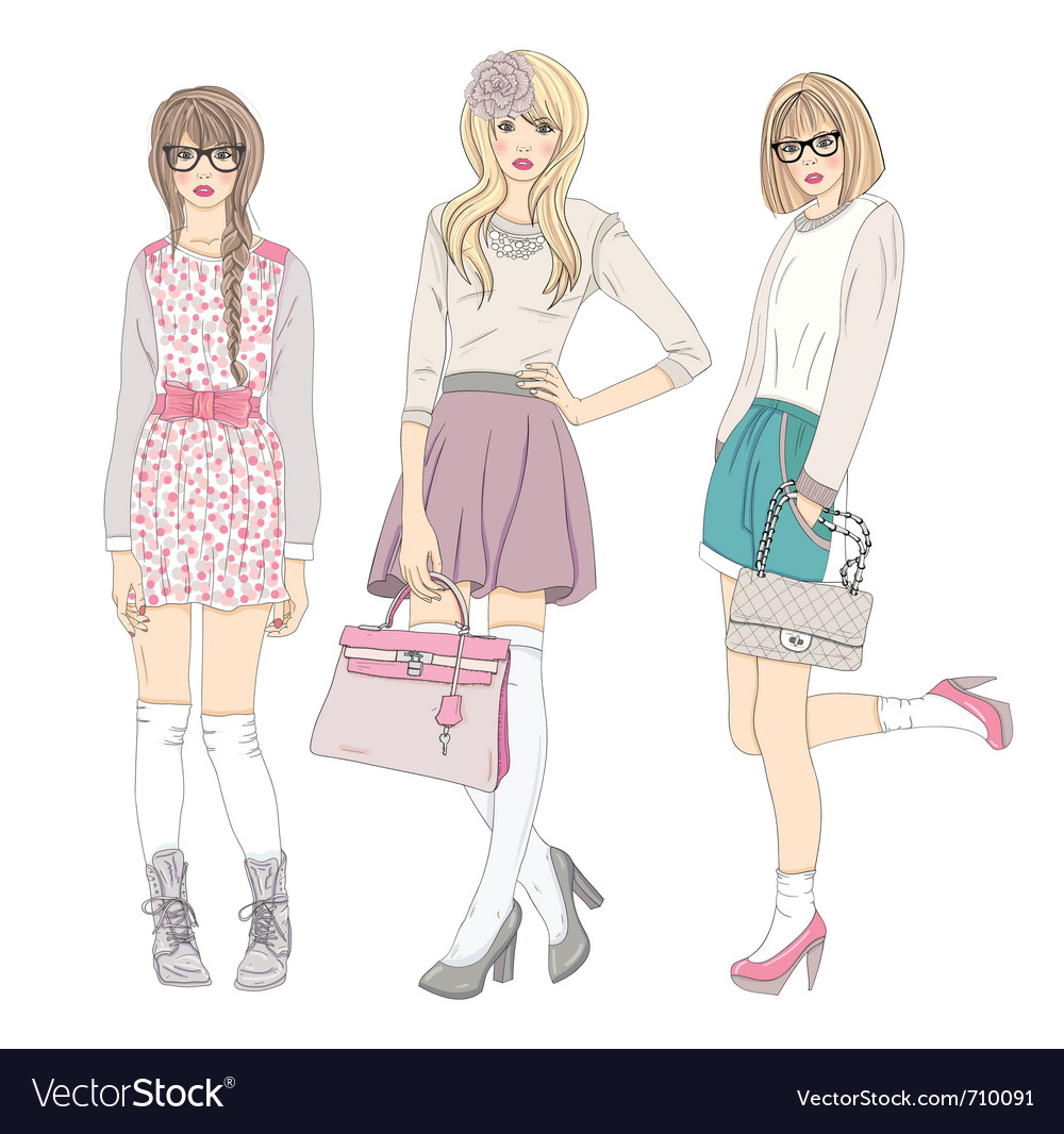 Young cute fashion teenager girls vector image