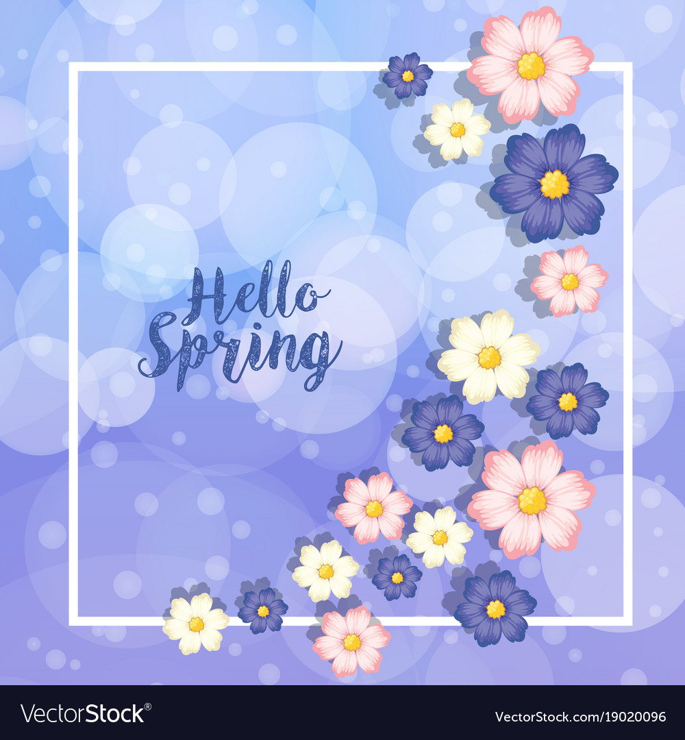 Border Template Wtih Blue And Pink Flowers Vector Image