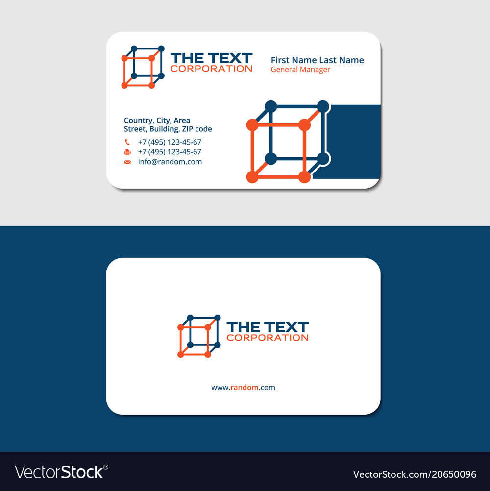 Business card chemistry blue and orange colors Vector Image