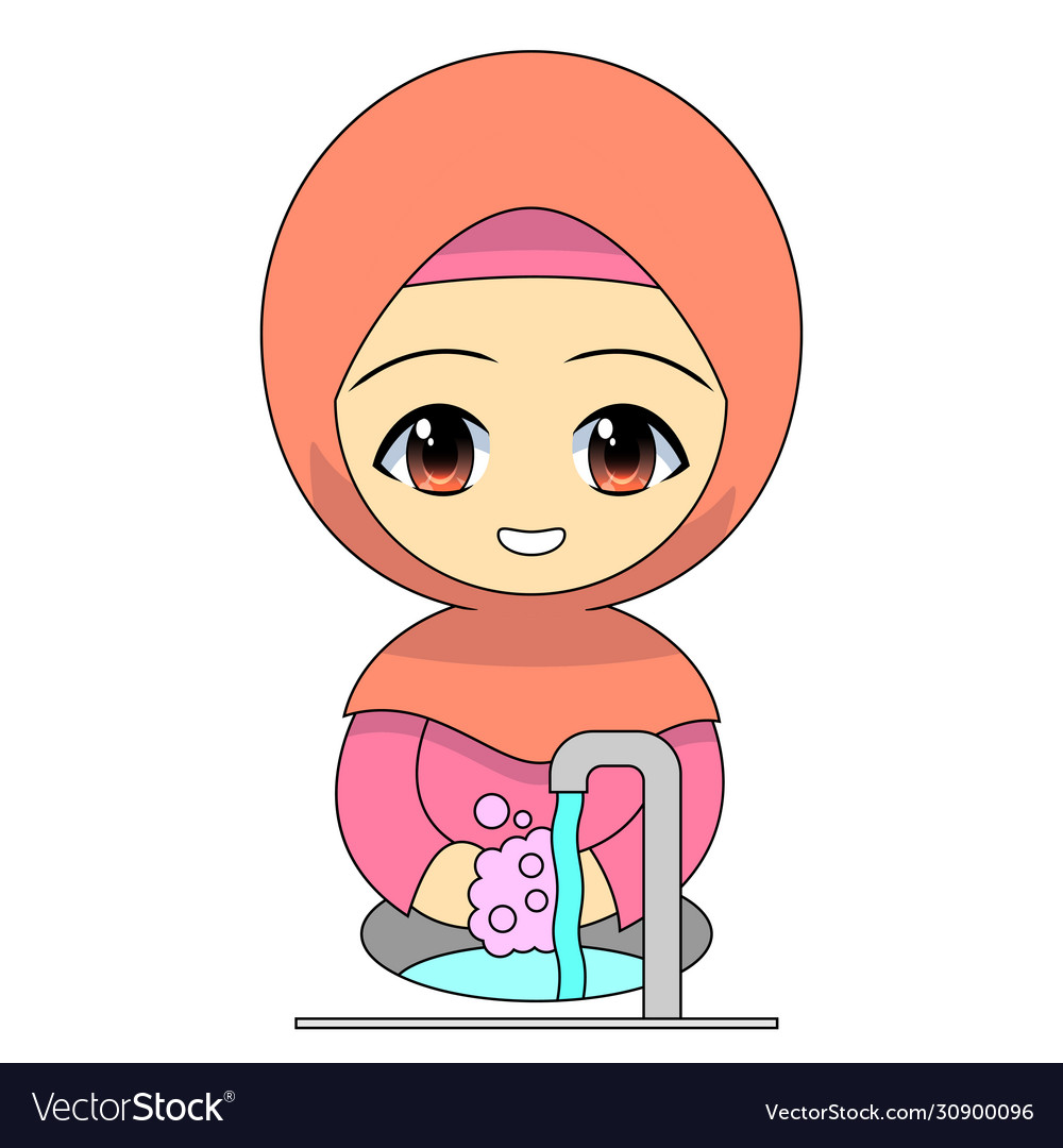 Cartoon muslim girl washing hands with soap daily