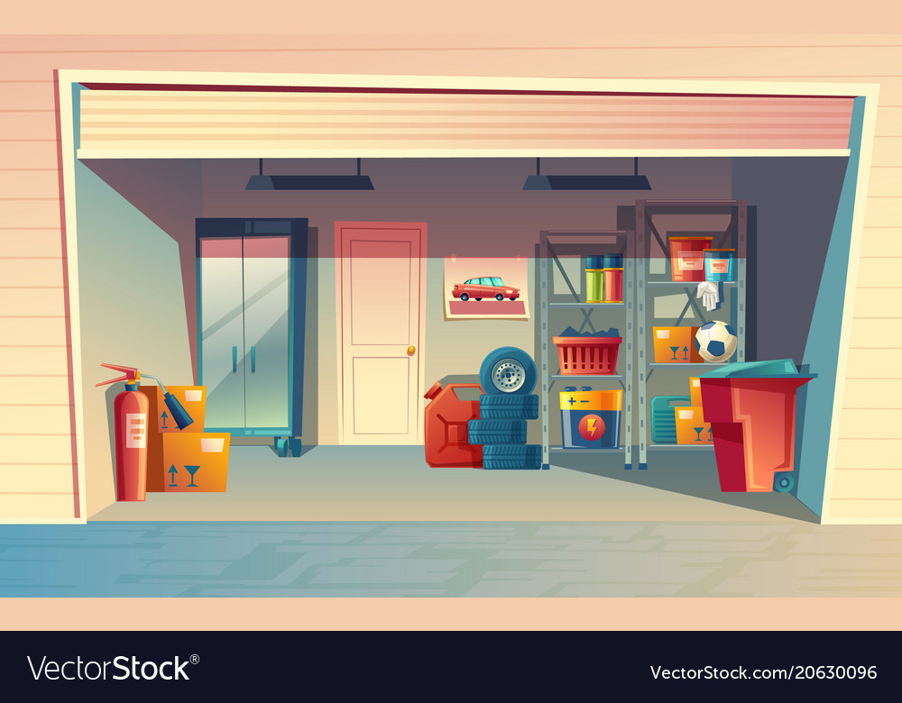 cartoon of garage interior royalty free vector image. Black Bedroom Furniture Sets. Home Design Ideas