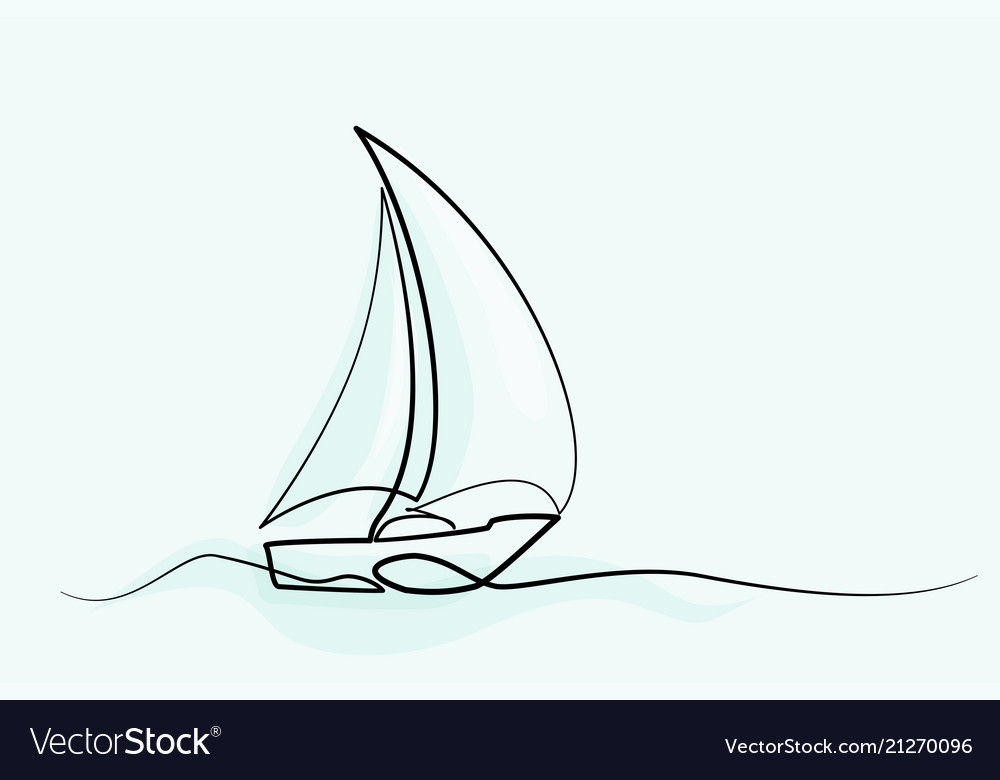 Continuous Line Drawing Sailboat Royalty Free Vector Image
