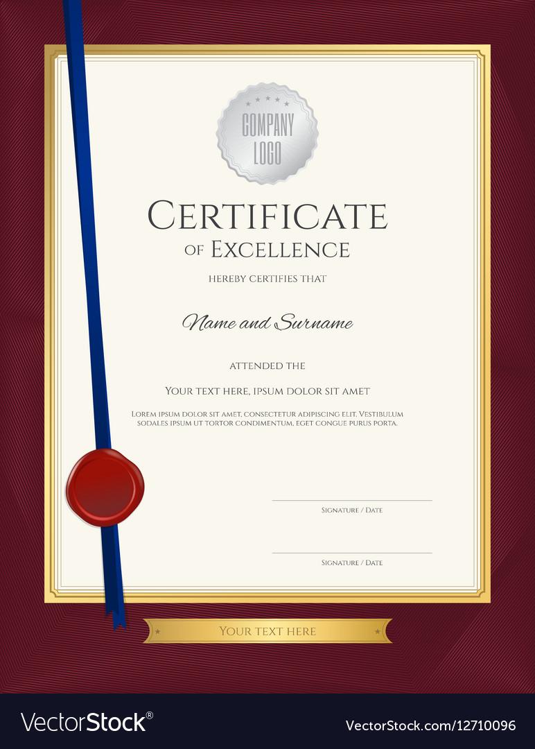 elegant portrait certificate template excellence vector image