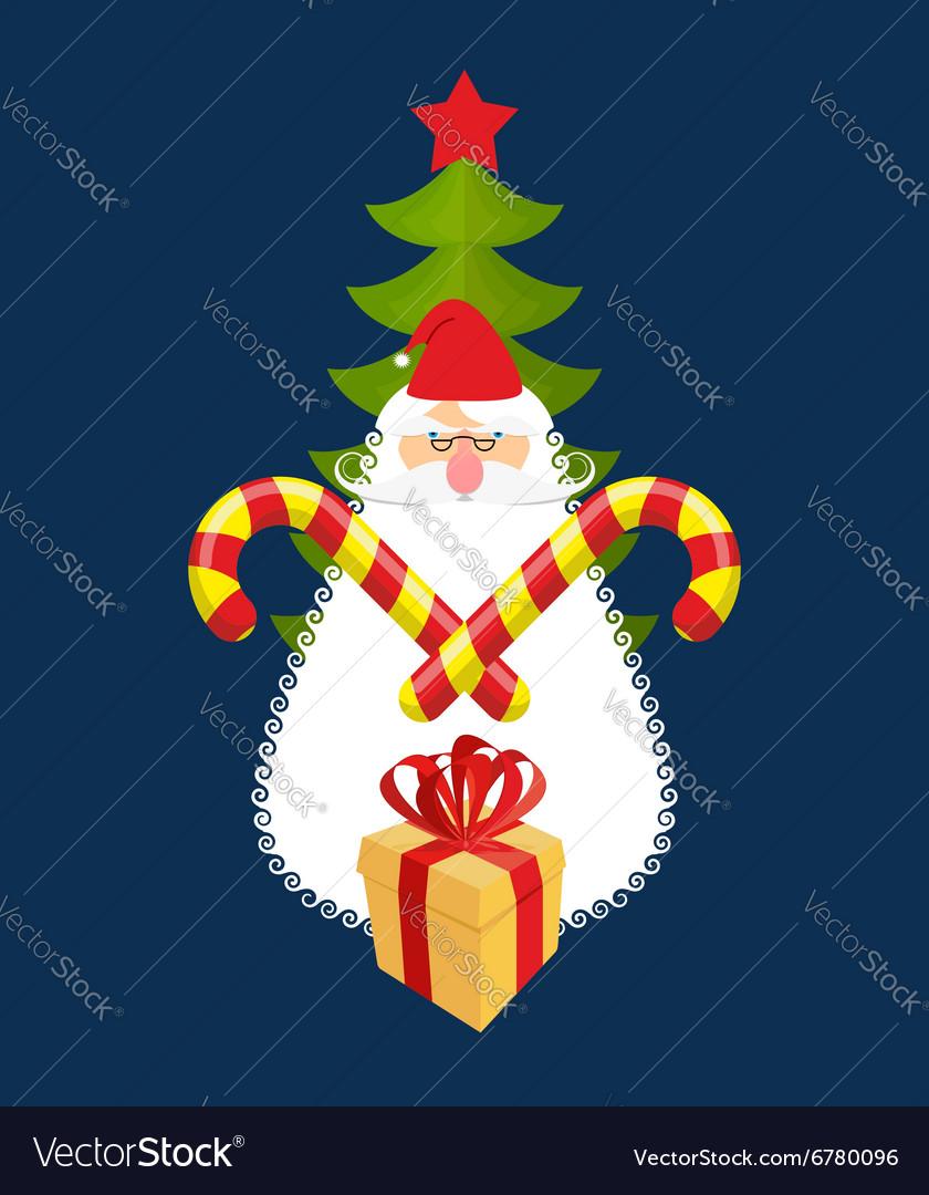 Emblem of Christmas Santa Claus and gift Mint