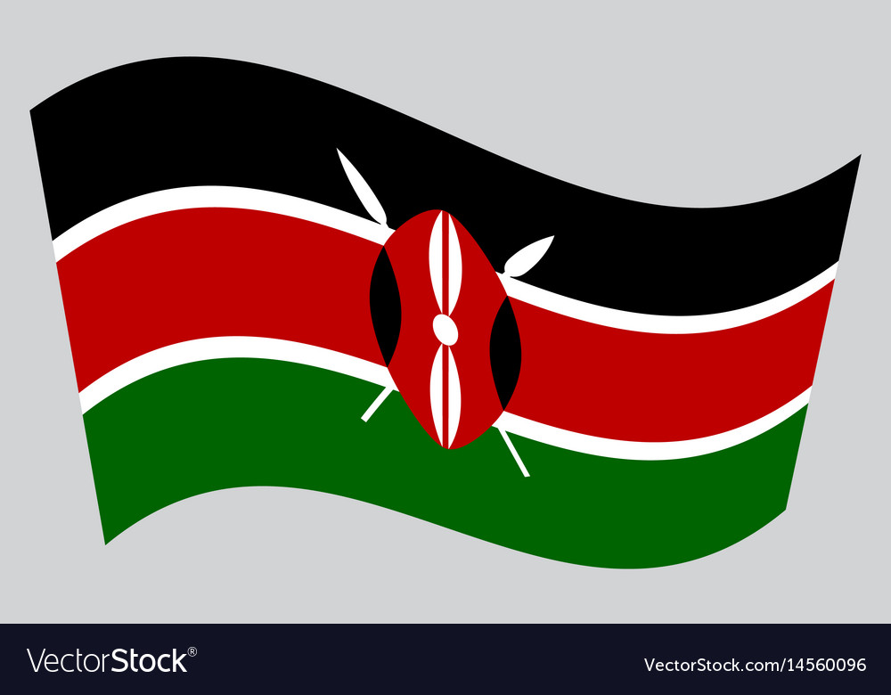 Flag Of Kenya Waving On Gray Background Royalty Free Vector