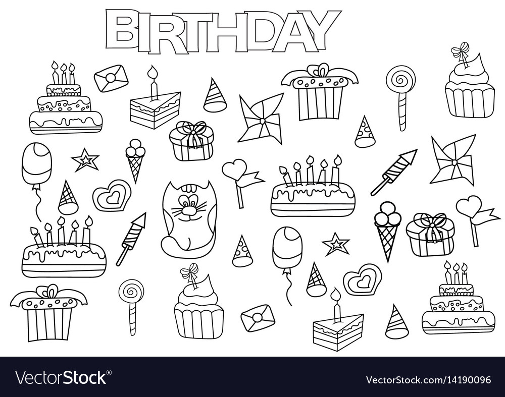 Hand drawn birthday set coloring book page