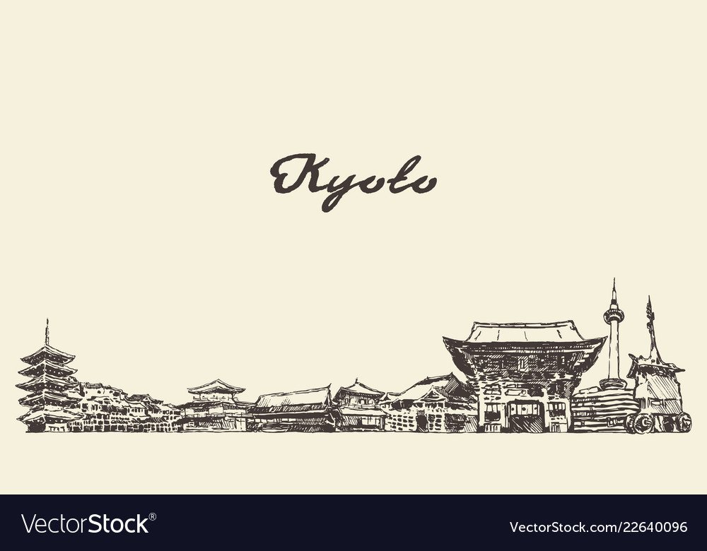 Kyoto skyline japan city drawn sketch