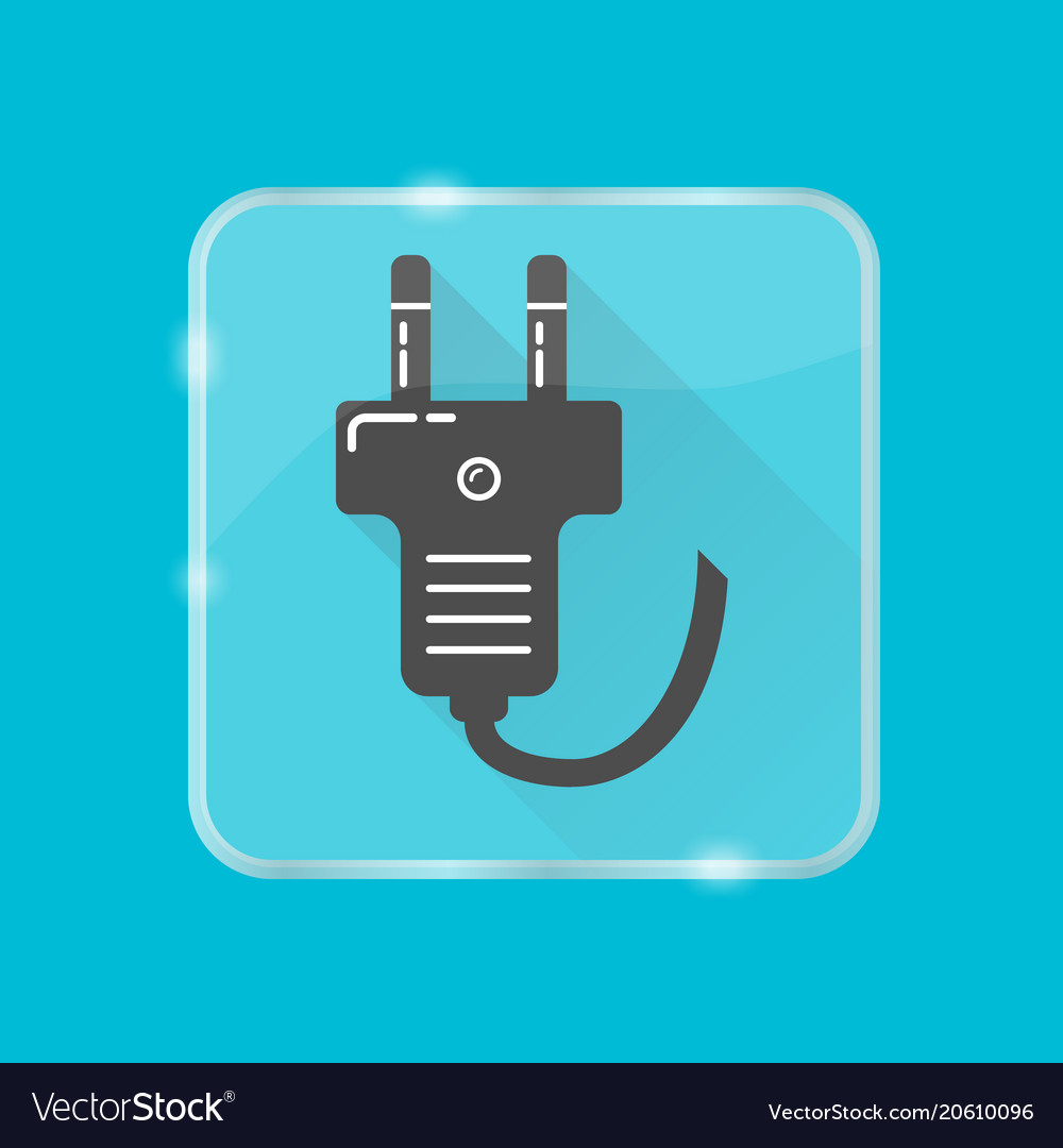 Plug silhouette icon in flat style on transparent