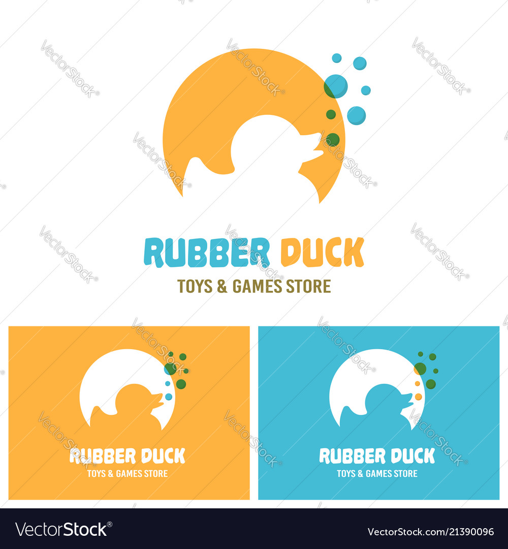 Rubber duck toy silhouette with blue bubbles logo