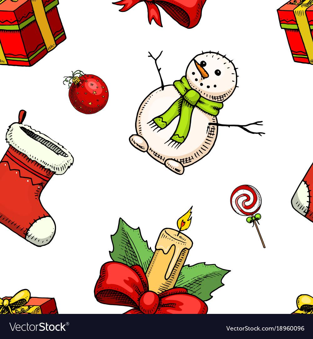 Seamless pattern merry christmas xmas new year