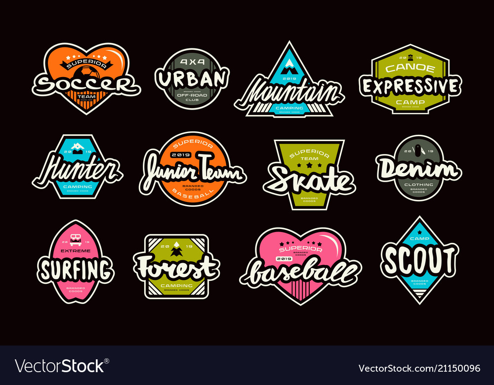 Set of bright stickers in sport style