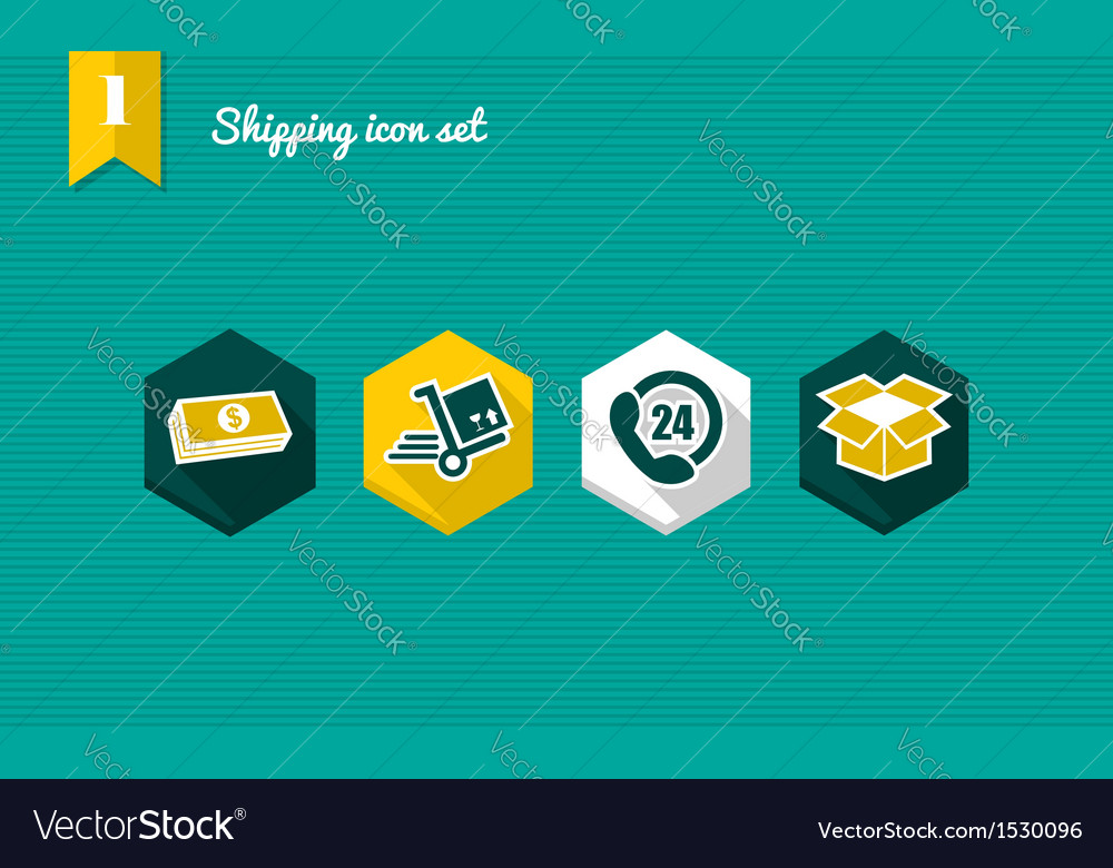 Shipping flat icons set