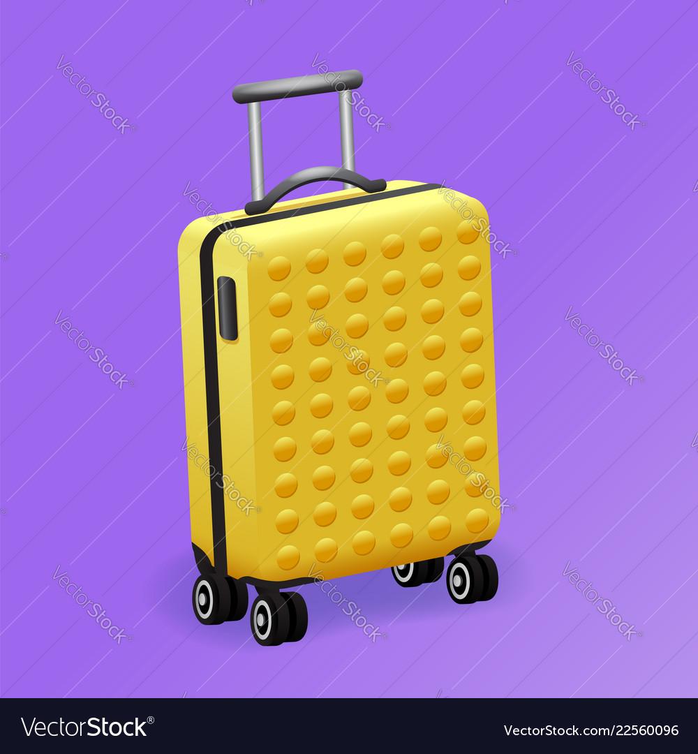 Single yellow luggage travel bag isolated