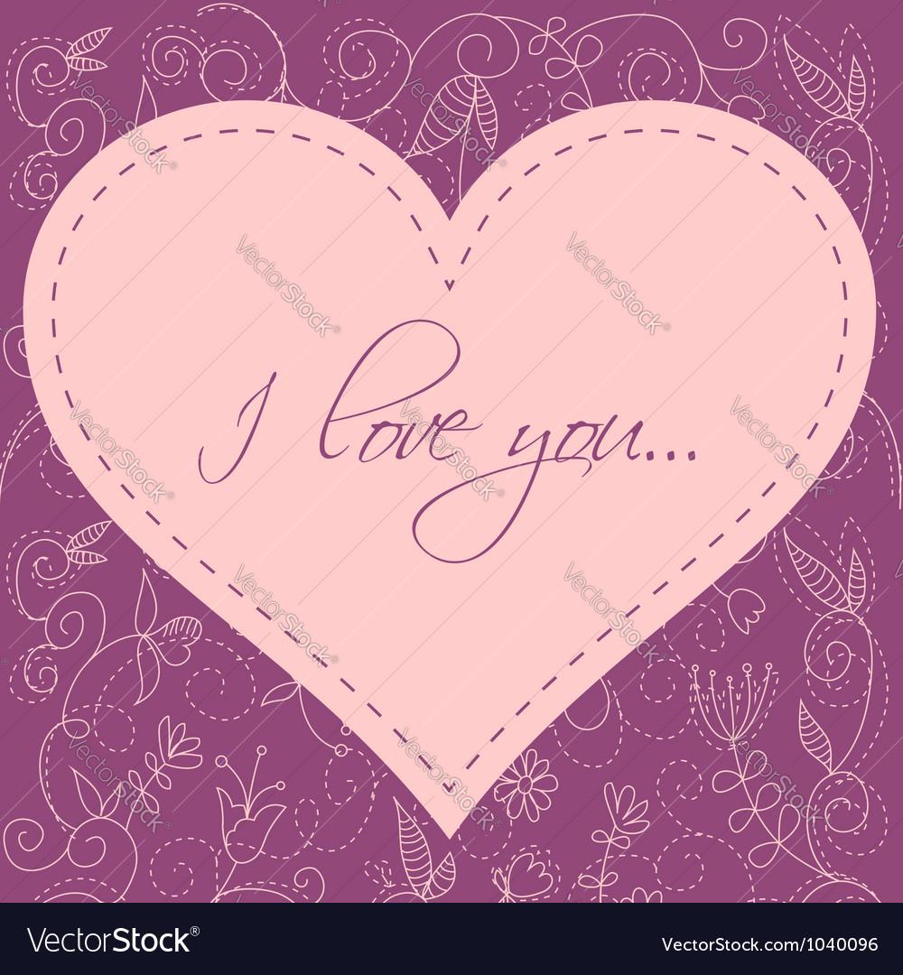 Valentines Day heart floral invitation postcard