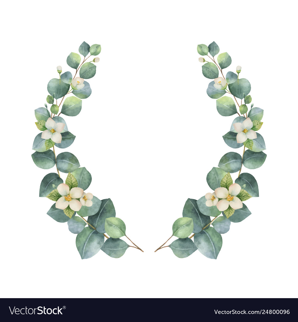 Watercolor wreath with silver dollar