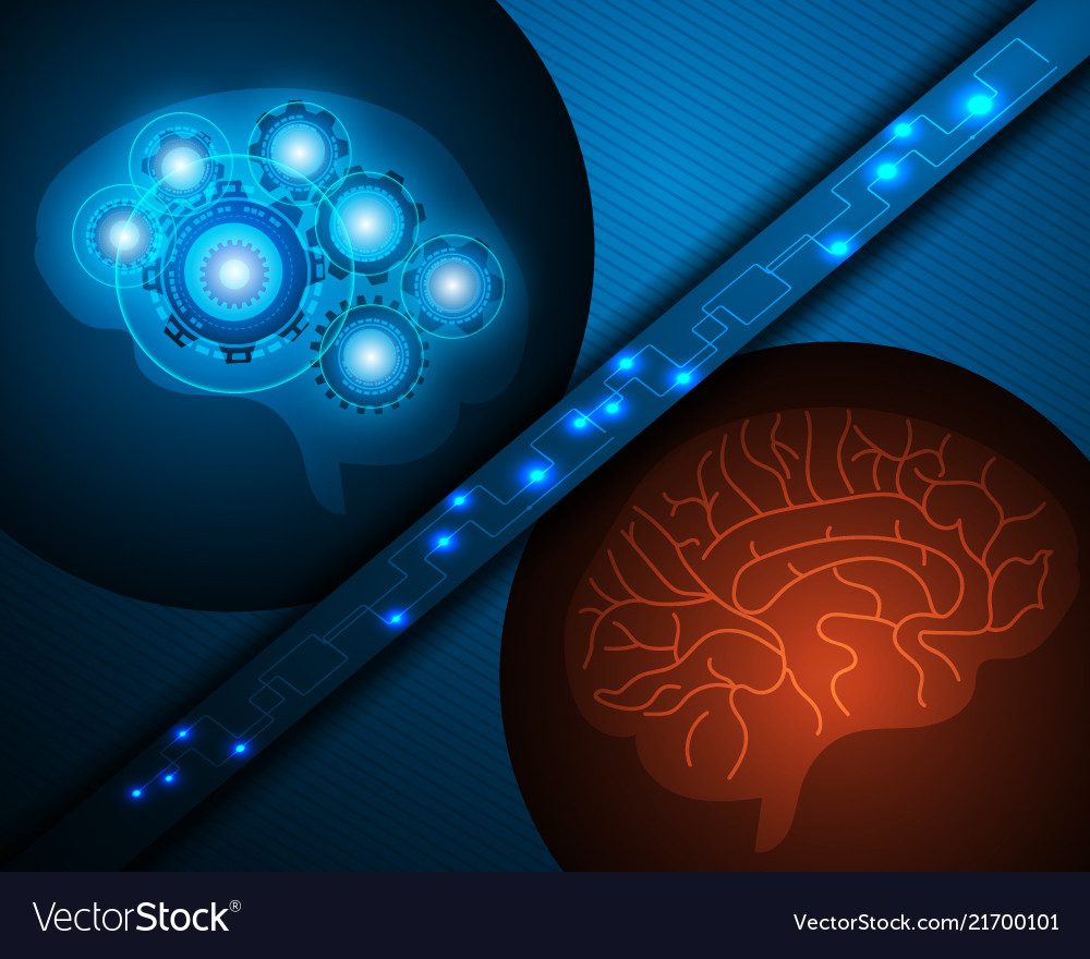 Ai robot and human brain over blue background