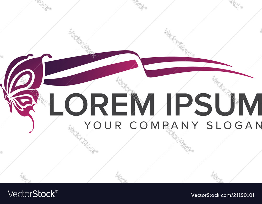 Butterfly flying logo design concept template