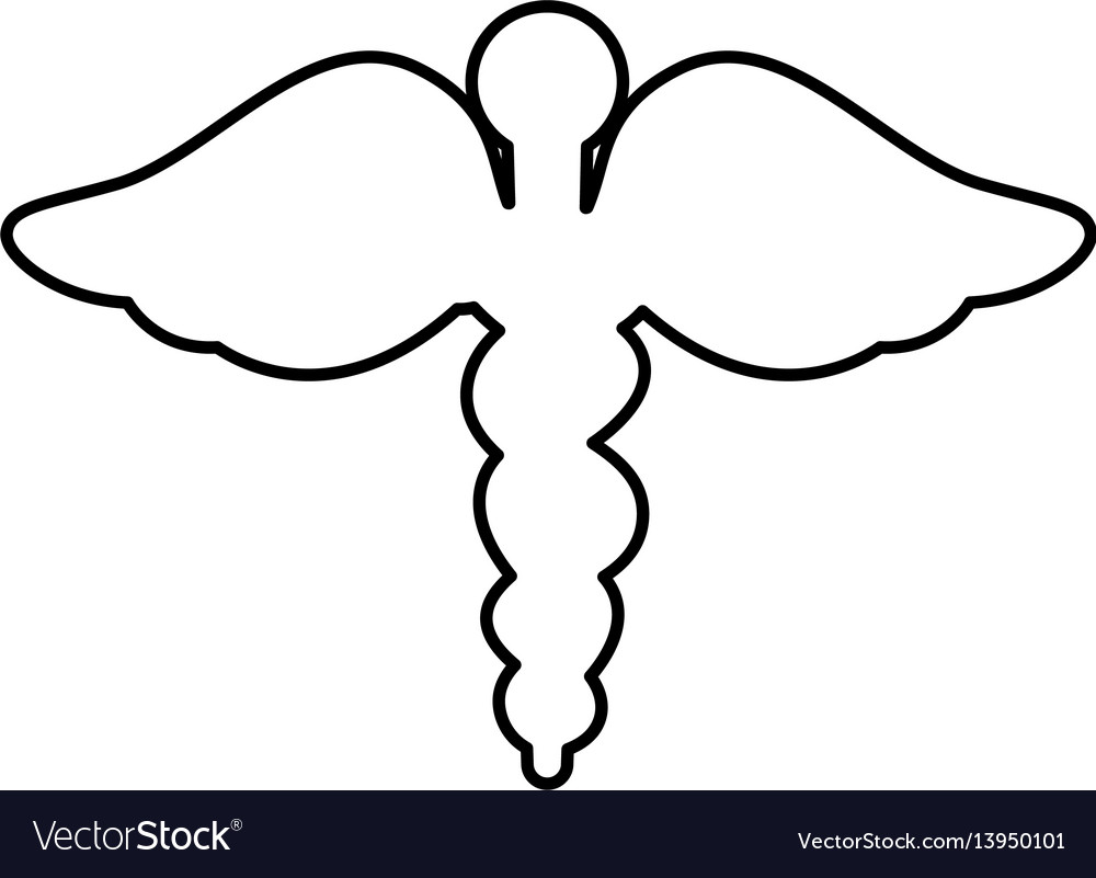 Caduceus symbol isolated icon vector image