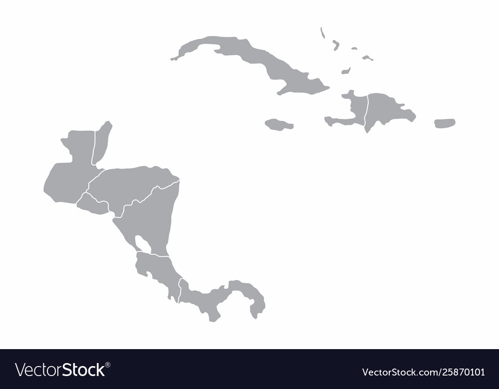 Central america gray map