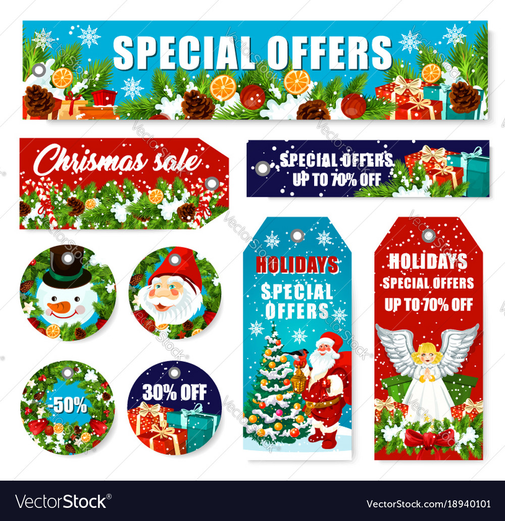 christmas decorations sale shop tags vector image - Christmas Decorations Sale