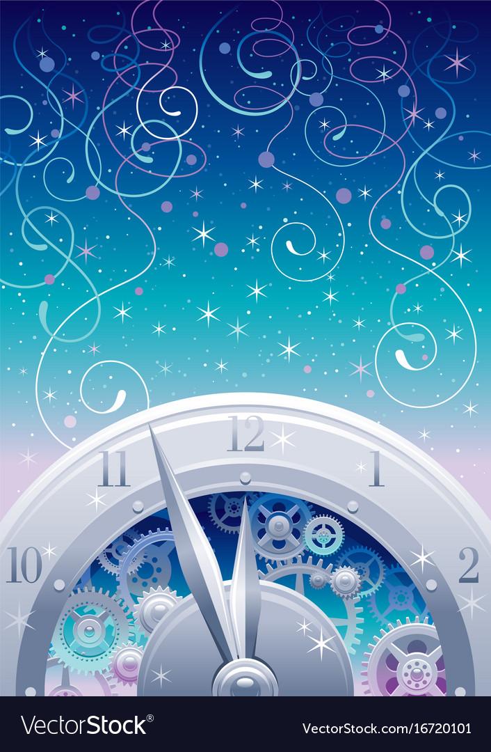 Clockwork with cogwheels minute hour hands