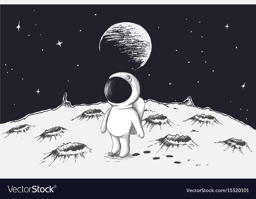 Cute astronaut walking on moon