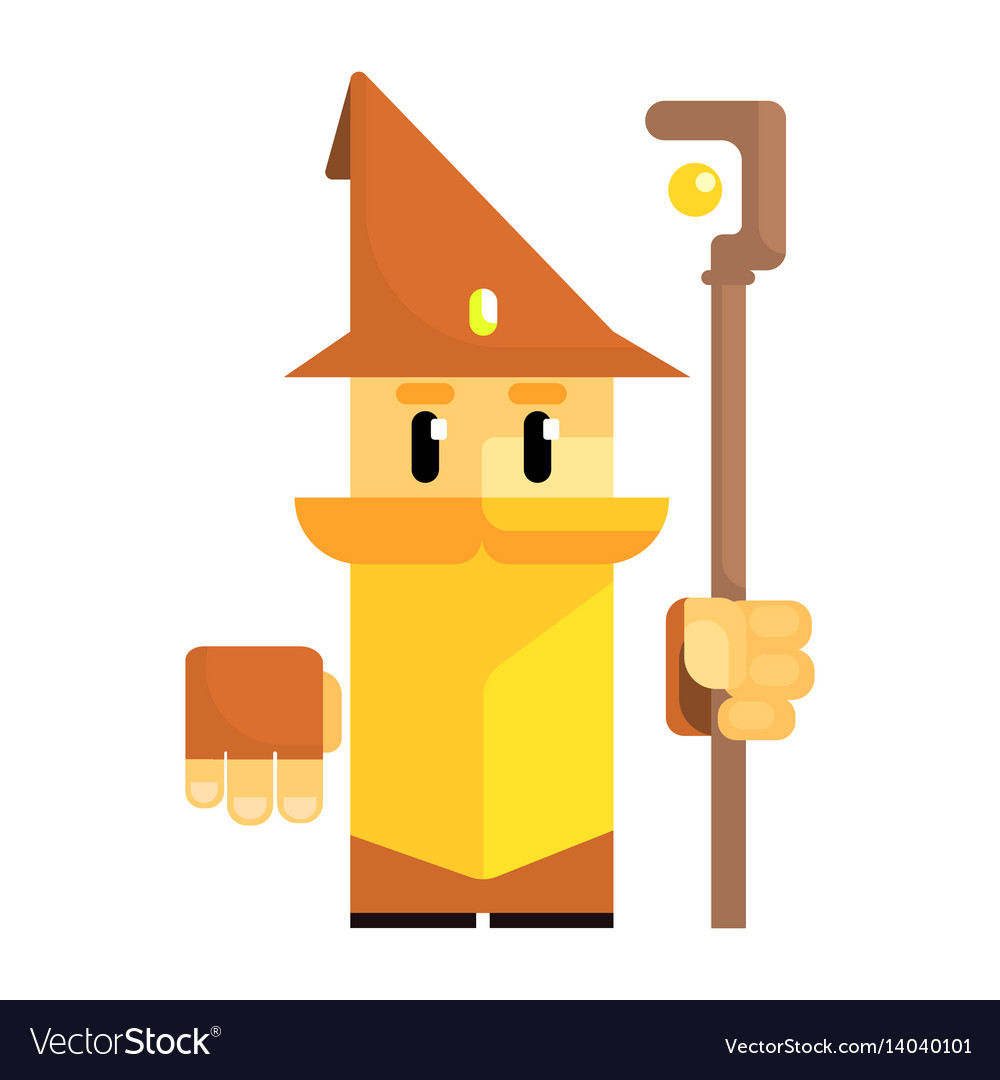 Cute cartoon gnome in a brown hat with a staff in