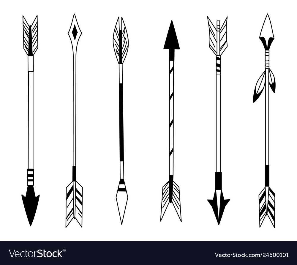 Hand drawn feather arrow tribal feathers on
