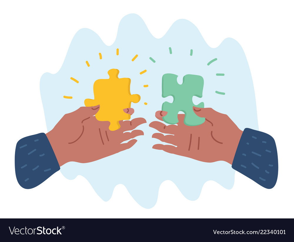 Hands putting puzzle pieces
