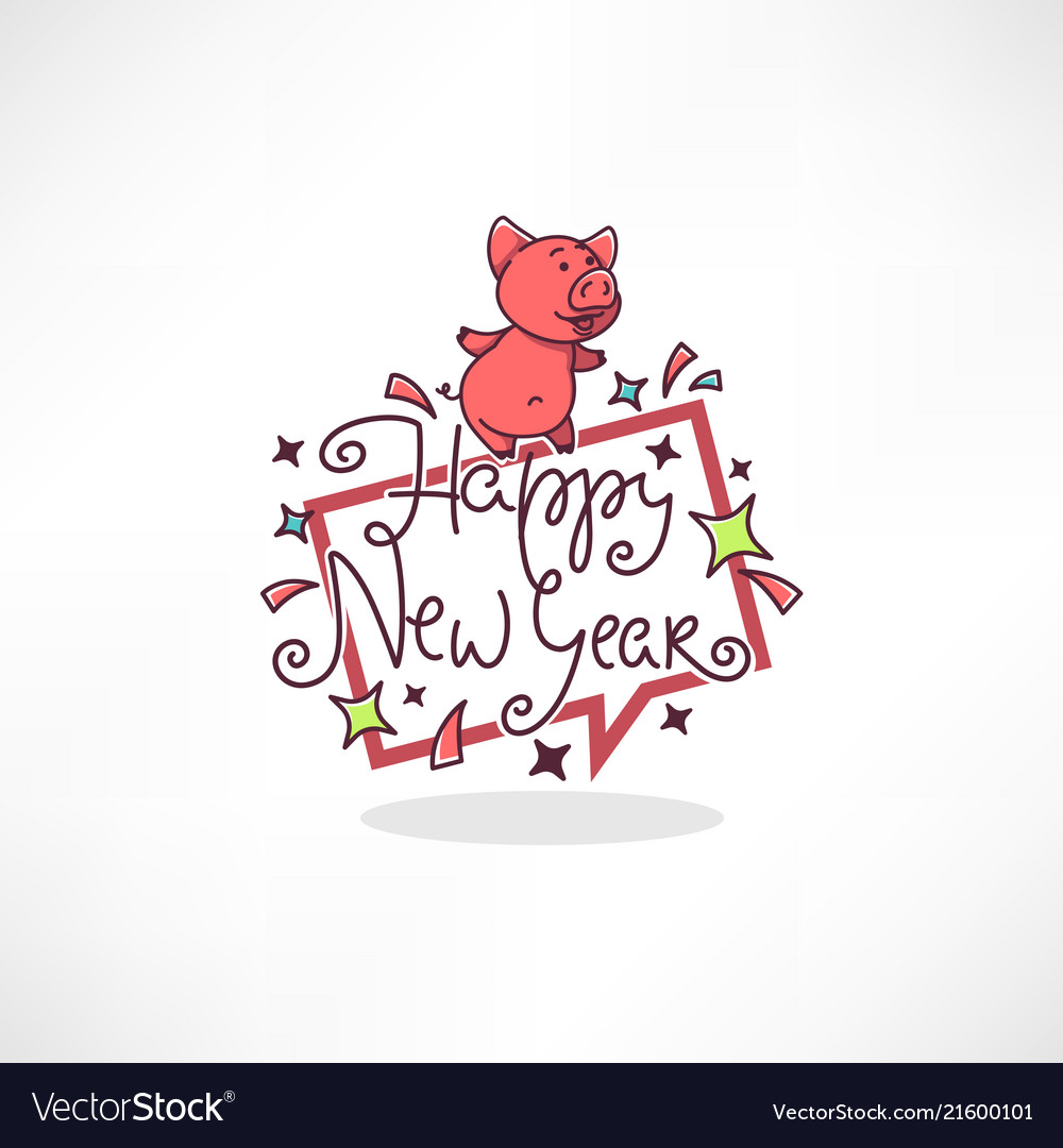 Happy pig chinese new year symbol image of
