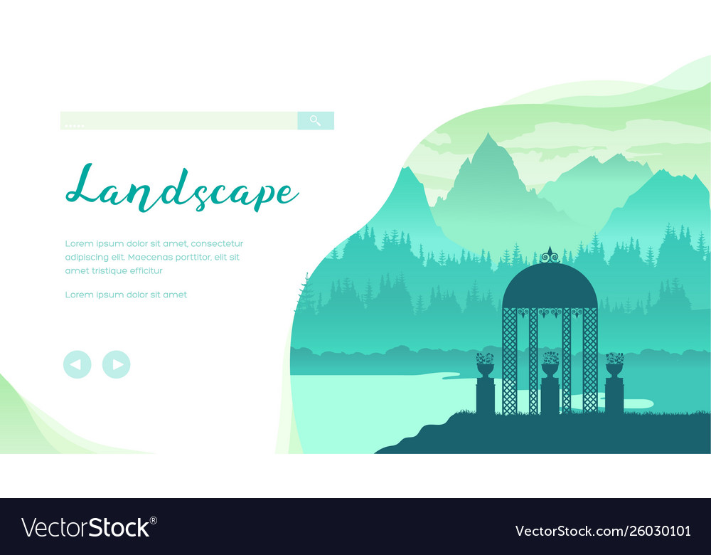 Landscape With Mountains Forest River Gazebo