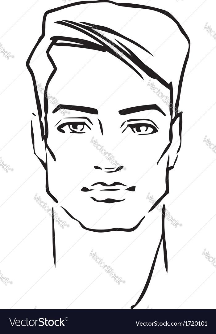 Male Face Template Man face fashion model vector
