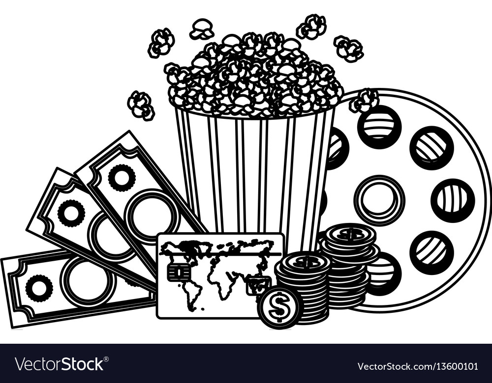 Pop corn clipart movie and money icon