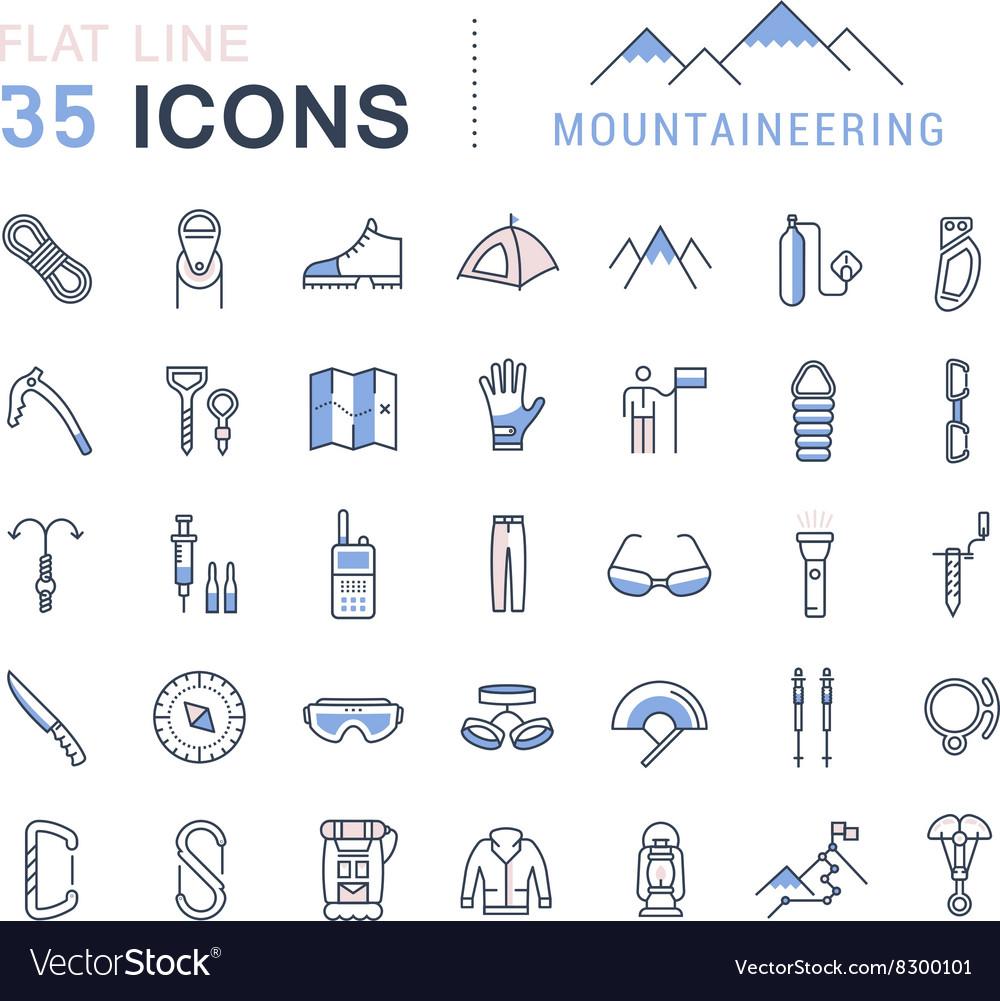 Set Flat Line Icons Mountaineering