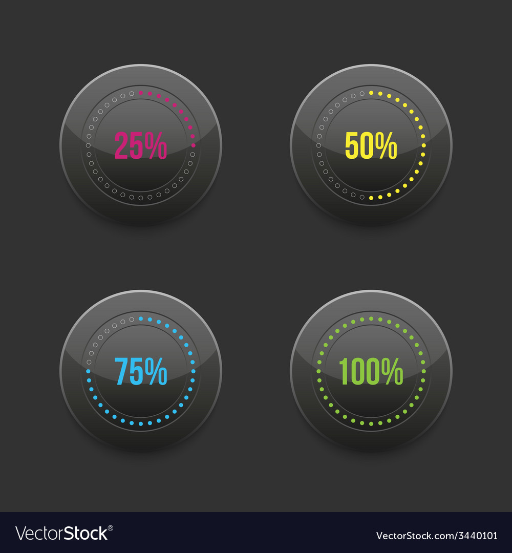 Set of round progress bar element with